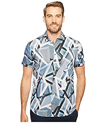 Calvin Klein Mens Multicolor Abstract Print Button Down Shirt