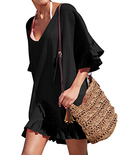 V-neck Cotton Suit (KingsCat Fashion V-Neck Cotton Beach Top/Swimsuit Cover Up, Black)