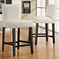 Bennett White Faux Leather 24-inch Counter Height High Back Stools by INSPIRE Q (Set of 2)