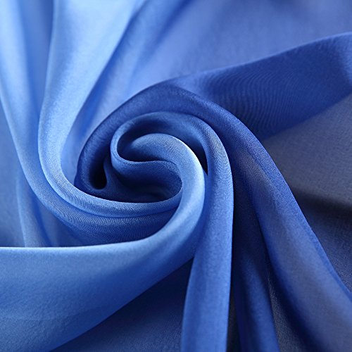 Silk Scarf Gradient Colors Scarves 100% silk Long Lightweight Sunscreen Shawls for Women … (Blue, L68.89''xW24.4'')