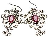 "StarGems(tm) Natural Cherry Ruby Handmade Vintage 925 Sterling Silver Earrings 1 3/4"""
