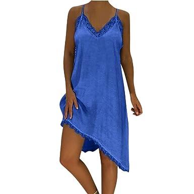 ce58be1c7e2 Women Casual Summer Asymmetric Cami Dress WYTong Ladies Loose Solid  Lacework Mini Beach Sundress(Blue