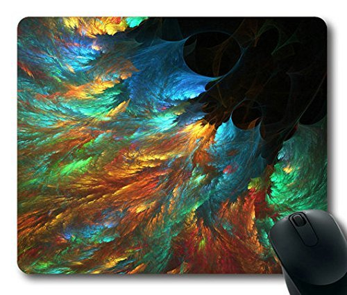 Mouse Pad with Smoke Swirl Peacock Non-Slip Neoprene Rubber desktop/computer mouse mat. Size: 9 Inch(220mm) X 7 Inch(180mm) X - Rubber 466
