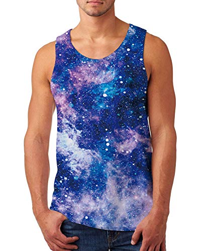 bula Star Cluster Printed Tanks Summer Sleeveelss Crewneck T-Shirt Cool Tee Tops Gym Muscle Workout Tank Top Casual Sport Vest Medium ()