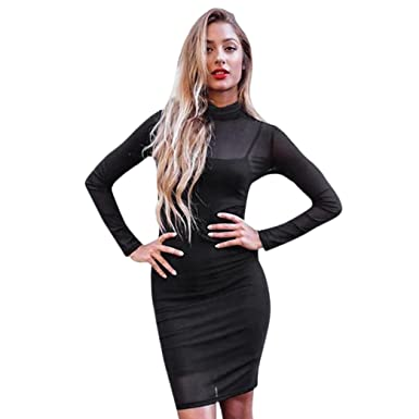 885c4542bd2f SunWard Women s Sexy Mesh Long Sleeve Party Evening Clubwear Bodycon Dress  2 Piece Mini Dresses (
