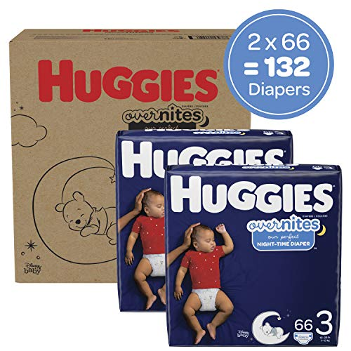 Nighttime Baby Diapers Size 3, 132 Ct, Huggies 3 (132 Count), White