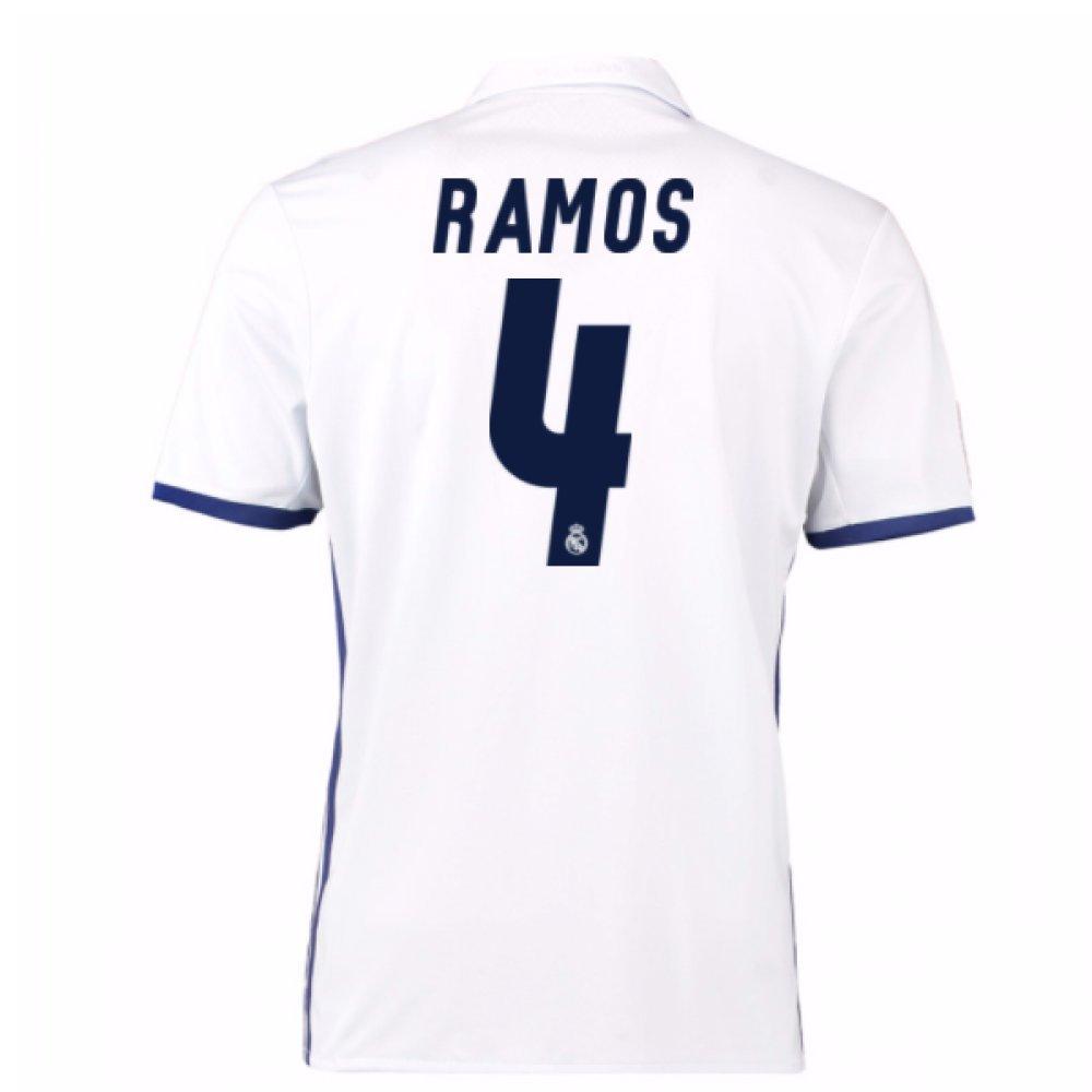 16ca1ac7c85 2016-17 Real Madrid Home Football Soccer T-Shirt (Sergio Ramos 4)   Amazon.co.uk  Sports   Outdoors