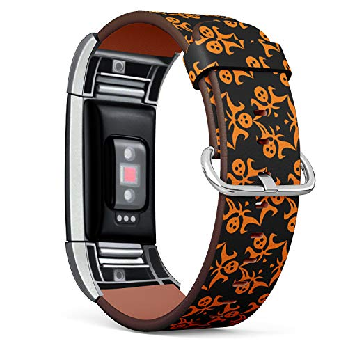 Compatible with Fitbit Charge 2 - Leather Watch Wrist Band Strap Bracelet with Stainless Steel Clasp and Adapters (Ghosts Halloween)
