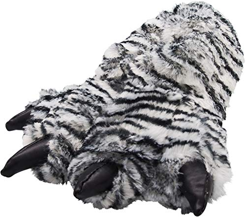 NORTY - Boys and Girls Big Foot Tiger Animal Claw Slippers, White, Black 39870-Small