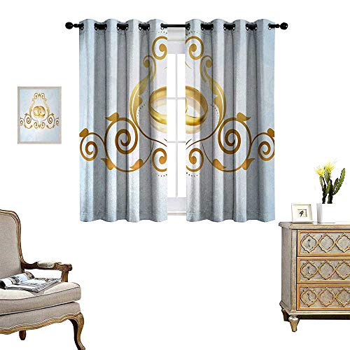 Anyangeight Wedding Waterproof Window Curtain Vintage Style Victorian Ornaments on Blue Backdrop Rings Classical Celebration Blackout Draperies for Bedroom W55 x L39 Pale Blue Gold