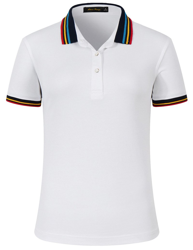 Mitario Femiego Women Classic Rainbow Collar Slim Fit Short Golf Polo Shirt White XL by Mitario Femiego
