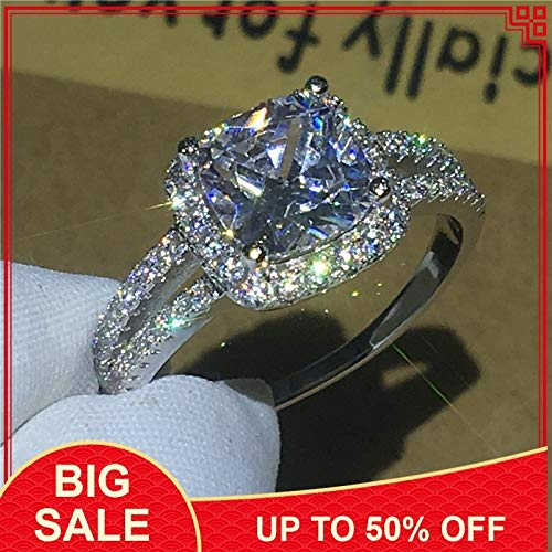 Fine Jewelry 925 Sterling Silver Ring Cushion Cut 2ct Zircon Stone Party Wedding Band Rings for Women Bijou Gift