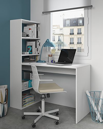 Habitdesign 008314A - Escritorio y estanteria reversible, mesa de oficina o estudio acabada en color Blanco, 144 x 120 x 53