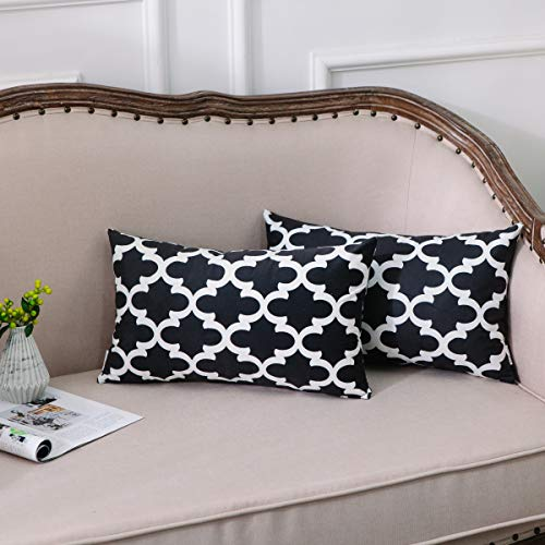 NATUS WEAVER Set of 2, Soft Velvet Bolster Pillow Cover Case for Couch Sofa Home Decor Modern Quatrefoil Accent Geometric 12 X 20 Inches Black