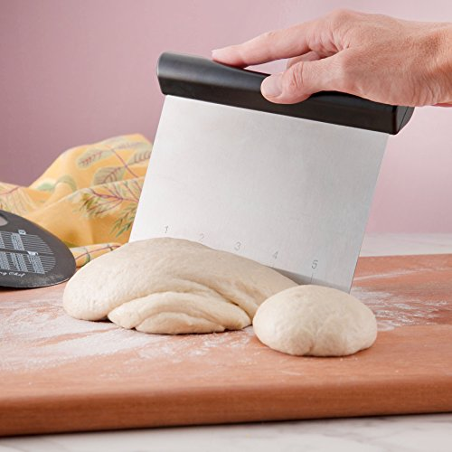 Spring Chef Bench Scraper, Stainless Steel Pastry Scraper Chopper, Best as Pizza and Dough Cutter, Black