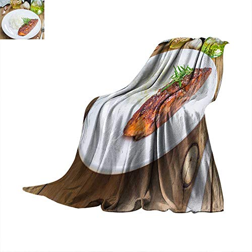 Angoueleven Blanket as Bedspread Baked Salmon Fillet in balsamic-Honey Sauce with Rice Throw Blanket 70