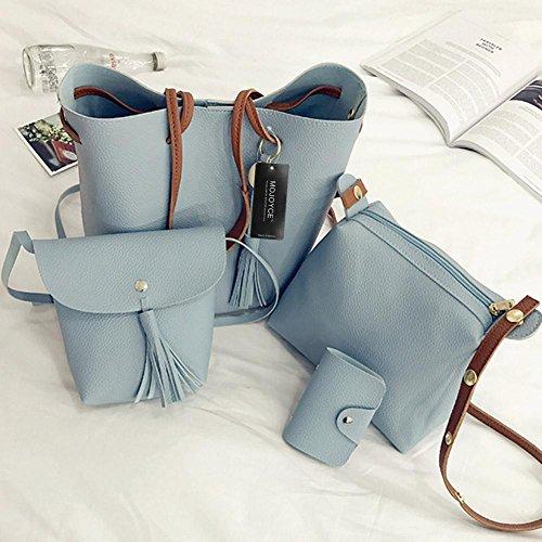 Handbag Bag Tote Sets Shoulder Leather Clutch Card Bags Fashion Bag Women Purse Set PU 4pcs Blue Domybest Tassel Women SgnZ77q