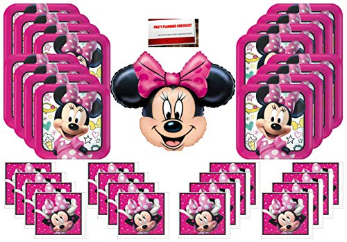 Disney Minnie Mouse Party Supply Bundle Pack for 16 Guests plus 14 Inch Balloon and Party Planning Checklist from Mikes Super Store
