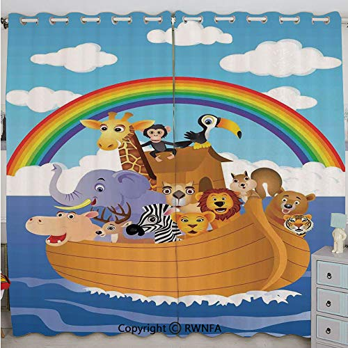 Justin Harve window Cartoon Style Group of Animals in Noahs Ark Childish Cheering Design Artwork Custom Blackout Curtains Set of 2 Panels(100
