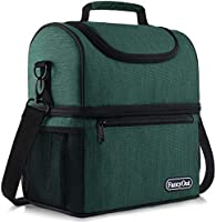 Insulated Lunch Bag with Dual Compartment, Leak Proof Liner Cooler Bag with Adjustable Shoulder Strap, Water-Resistant...