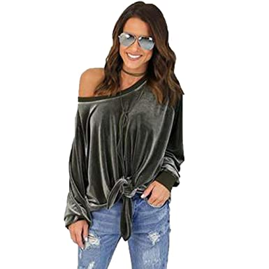 4e76570310 Women s Off The Shoulder Top Blouse Cashual Solid Lace Up Pullover ...