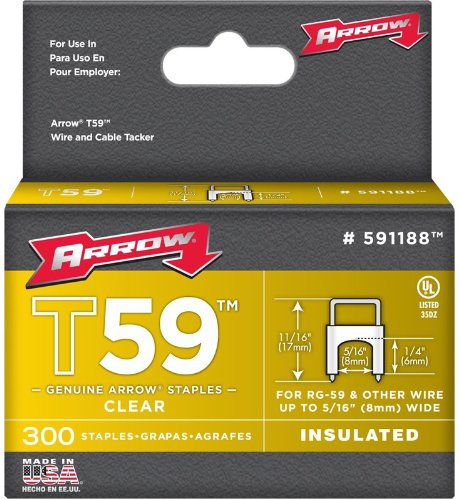 Arrow Fastener 591188 1/4 X 5/16 Clear T59 Staples