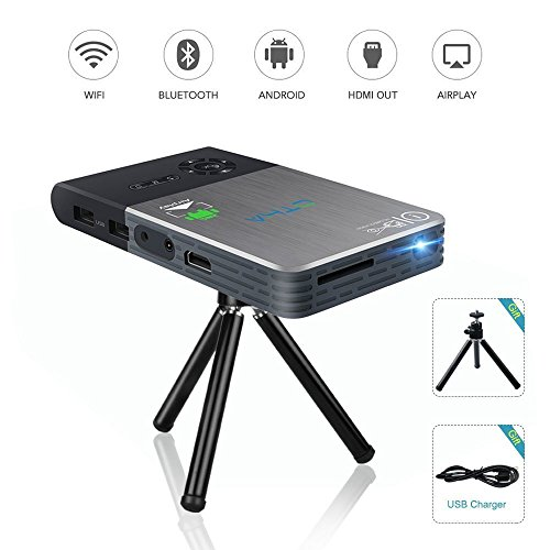 Mini Video Projector - OTHA Portable Mobile Cinema Home Theater DLP Projector with 120 inch Display for iPhone Laptop and Android,Support Wi-Fi 1080P Bluetooth HDMI USB TF Card by OTHA