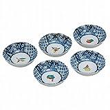 Jpanese traditional ceramic Kutani ware. Set of 5. Small bowls kobachi. Fruits. With paper box. ktn-K5-0186