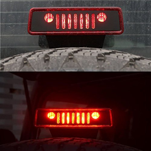 AutoMotor Black 3rd Brake Light Cover Stainless Steel Jeep Wrangler 2007-2017 Jeep Wrangler Unlimited JK JKU Rubicon Sahara Sport (Light Cover Brake 3rd)