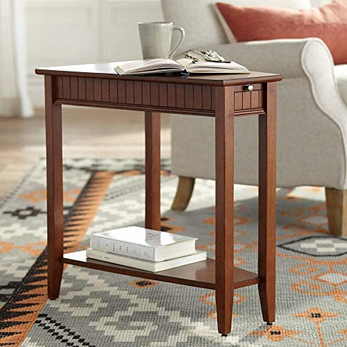 Cheap Bentley-II 16″ Wide Cherry Wood Wedge Accent Table living room table for sale
