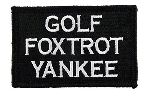 Golf Foxtrot Yankee Hook & Loop Tactical Funny Morale Tags P