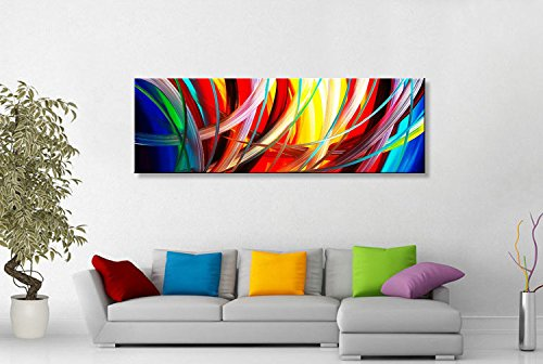 "Seekland Art Handmade Acrylic Painting Abstract Canvas Wall Art Modern Contemporary Artwork for Home Decoration (Framed 48"" W x 16"" H)"