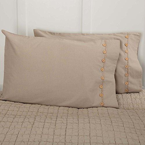 Standard Lace Pillowcase (Clara's Cottage Taupe Pillow Cases, Set/2, 21x30, Vintage Farmhouse Style, Lace & Buttons, Beige)