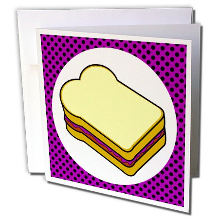 Price comparison product image 3dRose Greeting Cards, 6 x 6 Inches, Pack of 12, Kawaii Food - Peanut Butter and Grape Jelly (gc_77606_2)