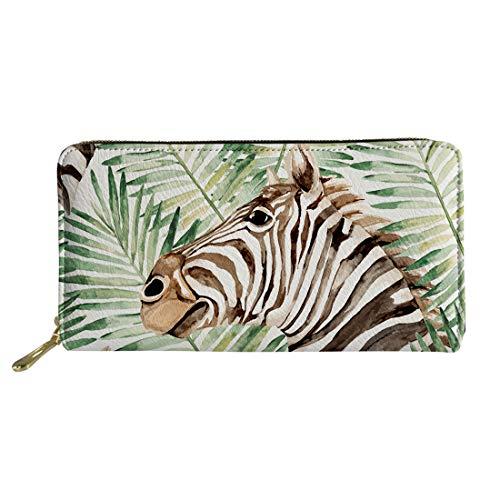 Zebra Palm Leaf Print Women Ladies Leather Long Clutch Wallet Zipper Around Travel Purse
