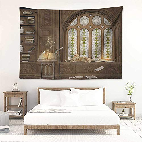 alisos Gothic,Wall Decor Tapestry Room for Study in The Medieval Library with Cat Sleeping on The Window Antique Mansion 84W x 70L Inch Tapestry Wallpaper Home Decor Taupe ()