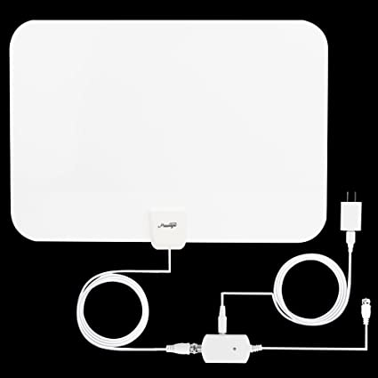 White TV Antenna, Prestige Indoor Amplified HDTV Antenna 50 Mile Range with Detachable Amplifier Signal