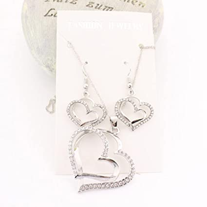 Heart Pendant Chain Necklace Rhinestone Crystal With Double Heart Pendant