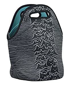 """Neoprene Lunch Bag by ART OF LUNCH - Large [12"""" x 12"""" x 6.5""""] Gourmet Insulating Lunch Tote - A Partnership with Artists Around the World - Design by Tobe Fonseca (Brazil) - Furr Division Cats"""