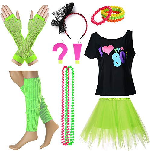 I Love The 80's T-Shirt Fancy Outfit Dress for 1980s Theme Party Supplies (L/XL, Neon Green) -