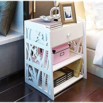 Mybestfurn Small Size Engraving White Nightstand Bed End Cabinet Living  Room Multifunctional Cabinet Waterproof Plastic-