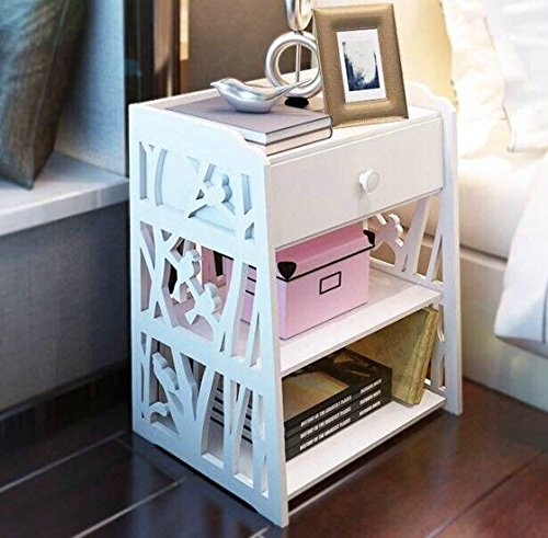 Mybestfurn Small Size Engraving White Nightstand Bed End Cabinet Living Room Multifunctional Cabinet Waterproof Plastic-Wood Table- White 1 Drawer 16X11X20 Inches 272N (1 Drawer Small Nightstand)