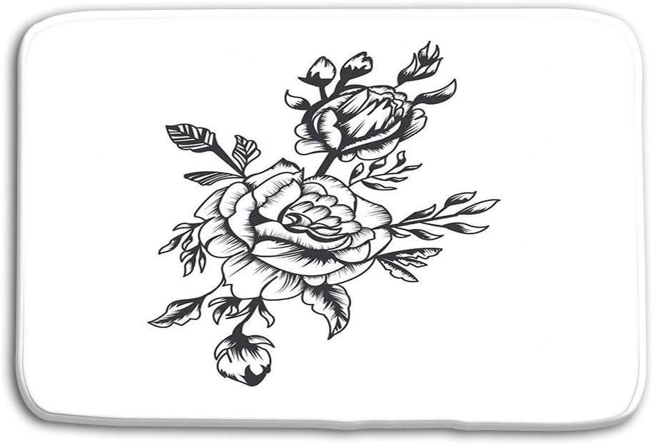 Piso de la cocina Baño Entrada Alfombrillas Alfombra Dibujado a mano Rosas blancas negras Recursos gráficos Tatto Materiales de libros altamente detallados Diseño Cualquiera Otros Alfombras de baño an