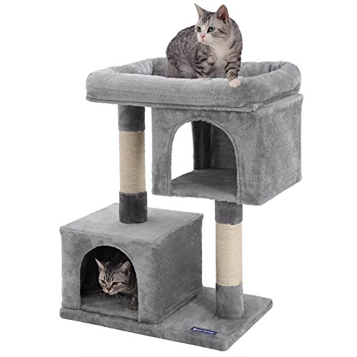FEANDREA Cat Tree for Large Cats, 2 Cozy Plush Condos and Sisal Posts UPCT61W (Best Cat Trees For Multiple Cats)