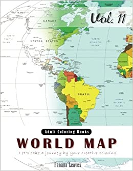 Amazon.com: World Map Coloring Book for Stress Relief & Mind ...