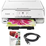 Canon PIXMA TS8020 Wireless All-In-One Printer with Scanner and Copier, White (1369C022) with Corel Paint Shop Pro X9 Digital Download & High Speed 6-foot USB Printer Cable
