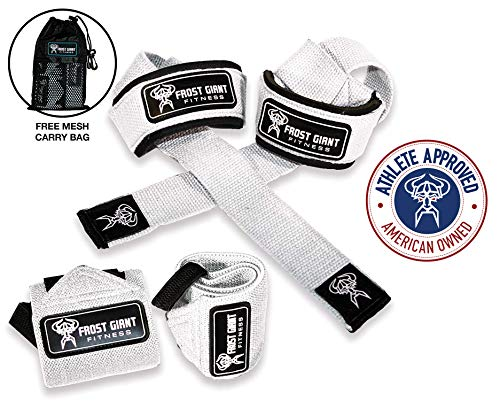 Frost Giant Fitness: Wrist Wraps Set w/Carry Bag | Heavy Duty Hand and Wrist Support (Weightlifting, Crossfit, Powerlifting, Bodybuilding, Weight Training, Workout),