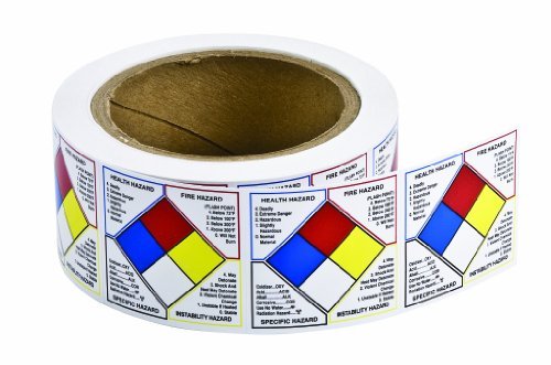 - Brady 53067 Paper Label Write On Right-To-Know NFPA Classification Diamond Roll Labels , Black,  Red,  Blue,  Yellow On White,  2