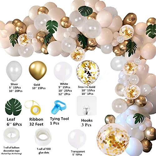 Balloon Garland gold 136pcs White Balloon Arch Kit gold balloon garland Wedding DIY Balloon arch Party Centerpiece Backdrop Background for the baby shower decorations