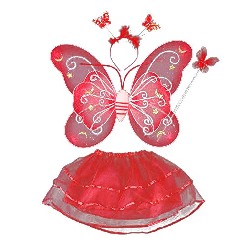 BOBORA Fairy Girl Butterfly Wing Wand Headband Tutu Skirt Halloween Costume Set (Angel Wings Halloween)